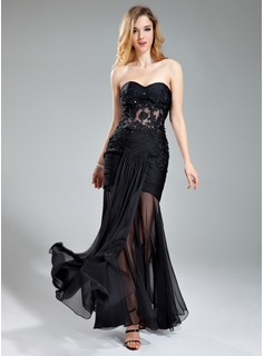 Sheath Sweetheart Floor-Length Chiffon Evening Dress With Ruffle Lace Beading