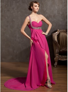 A-Line/Princess One-Shoulder Court Train Chiffon Prom Dress With Beading Sequins Split Front Cascading Ruffles