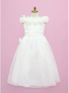 A-Line/Princess Off-the-Shoulder Floor-Length Organza Satin Flower Girl Dress With Flower(s) Bow(s)