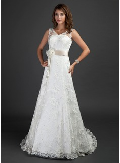 A-Line/Princess V-neck Court Train Satin Lace Wedding Dress With Sash Beading Flower(s)