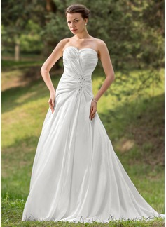 A-Line/Princess Sweetheart Chapel Train Taffeta Wedding Dress With Ruffle Beading Appliques Lace Sequins