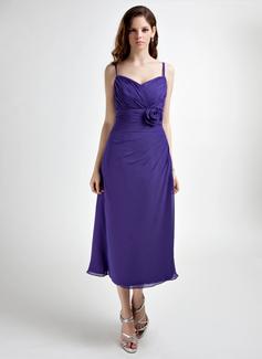 A-Line/Princess Sweetheart Tea-Length Chiffon Bridesmaid Dress With Ruffle Flower(s)