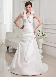 Corte A/Princesa Cabestro Barrer de tren Tafetán Vestido de novia con Flores Cascada de volantes