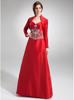 A-Line/Princess Sweetheart Floor-Length Taffeta Bridesmaid Dress With Embroidered Beading