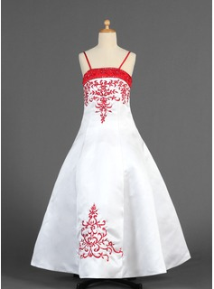 A-Line/Princess Floor-Length Satin Flower Girl Dress With Embroidered Sash Beading