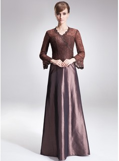 A-Line/Princess V-neck Sweep Train Taffeta Lace Mother of the Bride Dress