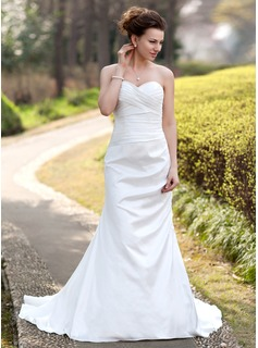 Mermaid Sweetheart Court Train Taffeta Wedding Dress With Ruffle