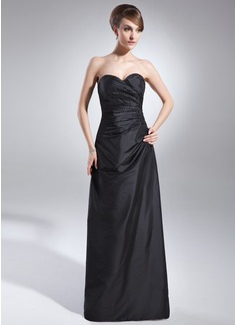 Sheath/Column Sweetheart Floor-Length Taffeta Bridesmaid Dress With Ruffle Beading