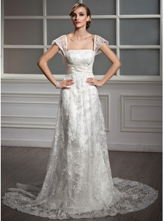 A-Line/Princess Square Neckline Court Train Satin Lace Wedding Dress With Ruffle Beading Sequins