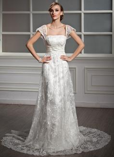 Forme Princesse Encolure carrée Traîne moyenne Satiné Dentelle Robe de mariée avec Plissé Emperler Sequins