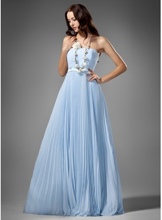 Empire Strapless Floor-Length Chiffon Charmeuse Bridesmaid Dress With Pleated
