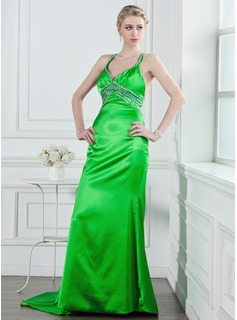 A-Line/Princess V-neck Court Train Charmeuse Holiday Dress With Beading Sequins