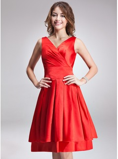 A-Line/Princess V-neck Knee-Length Satin Chiffon Bridesmaid Dress With Ruffle