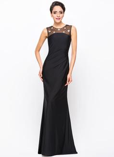 Trompete/Meerjungfrau-Linie U-Ausschnitt Bodenlang Tüll Jersey Abendkleid mit Perlen verziert Pailletten
