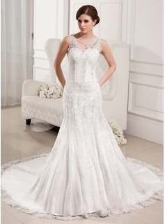 Mermaid V-neck Chapel Train Satin Tulle Wedding Dress With Lace Beadwork