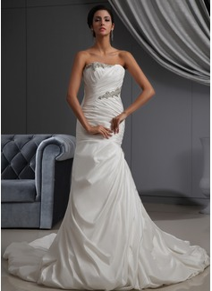 Trumpet/Mermaid Strapless Cathedral Train Taffeta Wedding Dress With Ruffle Beading
