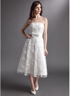 A-Line/Princess Strapless Tea-Length Lace Wedding Dress With Bow(s)