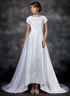 A-Linie/Princess-Linie Rechteckiger Ausschnitt Asymmetrisch Satin Brautkleid mit Rüschen Spitze Perlen verziert