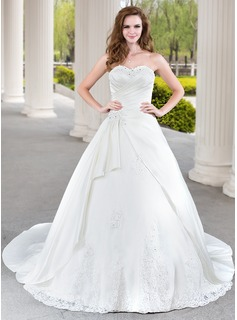 Ball-Gown Sweetheart Chapel Train Satin Tulle Wedding Dress With Lace Beading Cascading Ruffles