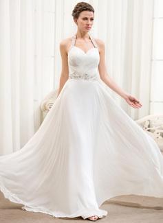 Corte A/Princesa Cabestro Hasta el suelo Chifón Vestido de novia con Volantes Bordado Lentejuelas