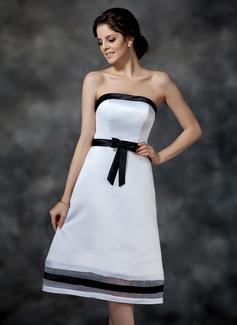 Çan/Prenses Askısız Diz Hizası Organza Satin Nedime Elbisesi