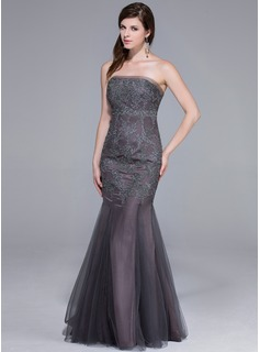 Trumpet/Mermaid Strapless Floor-Length Tulle Evening Dress
