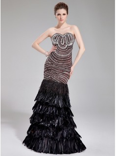 Mermaid Sweetheart Floor-Length Satin Feather Evening Dress With Beading