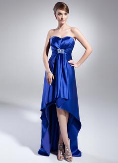 Väldet Hjärtformad Asymmtrisk Charmeuse Aftonklänning med Pärlbrodering Paljetter
