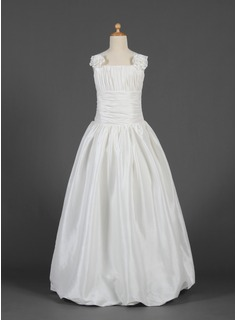 A-Line/Princess Floor-length Flower Girl Dress - Taffeta Sleeveless Square Neckline With Ruffles/Flower(s)