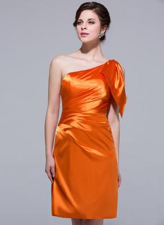 Wąska Jednoramienna Do Kolan Charmeuse Suknia dla Druhny