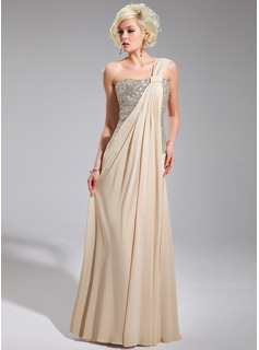 A-Line/Princess One-Shoulder Floor-Length Chiffon Sequined Prom Dress With Ruffle
