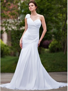 Mermaid One-Shoulder Chapel Train Taffeta Wedding Dress With Ruffle Flower(s)