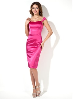 Sheath/Column Sweetheart Knee-Length Charmeuse Bridesmaid Dress