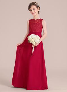 A-Linie/Princess-Linie U-Ausschnitt Bodenlang Chiffon Kleid für junge Brautjungfern mit Schleife(n)