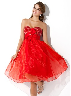 Empire Sweetheart Knee-Length Organza Satin Homecoming Dress With Beading Flower(s)
