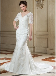 Trumpet/Mermaid V-neck Chapel Train Tulle Wedding Dress With Beading Appliques Lace