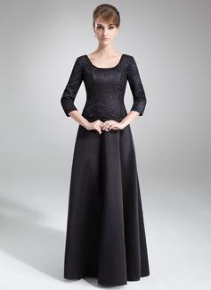Vestidos princesa/ Formato A Decote redondo Longos Cetim Renda Vestido para a mãe da noiva