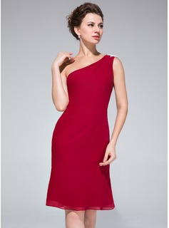 Sheath/Column One-Shoulder Knee-Length Chiffon Cocktail Dress With Lace