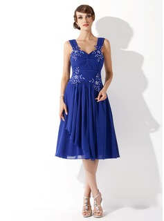 A-Line/Princess Sweetheart Knee-Length Chiffon Homecoming Dress With Ruffle Lace Beading