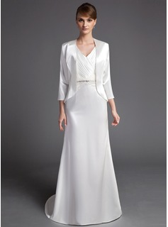 Sheath/Column V-neck Sweep Train Charmeuse Mother of the Bride Dress With Ruffle Lace Beading