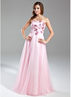 A-Line/Princess Strapless Floor-Length Organza Satin Prom Dress With Beading