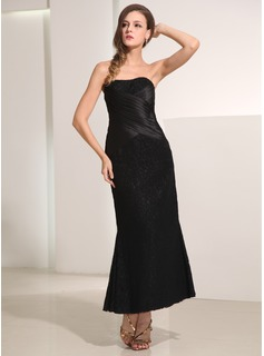 Sheath/Column Sweetheart Ankle-Length Satin Lace Holiday Dress With Ruffle
