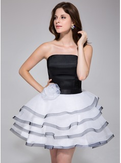A-Line/Princess Strapless Short/Mini Charmeuse Organza Homecoming Dress With Flower(s) Cascading Ruffles