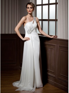A-Line/Princess One-Shoulder Sweep Train Chiffon Holiday Dress With Ruffle Beading Sequins