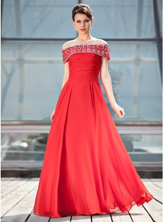 A-Line/Princess Off-the-Shoulder Floor-Length Chiffon Mother of the Bride Dress With Ruffle Beading Sequins
