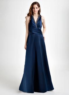 A-Line/Princess V-neck Floor-Length Satin Bridesmaid Dress With Ruffle Beading