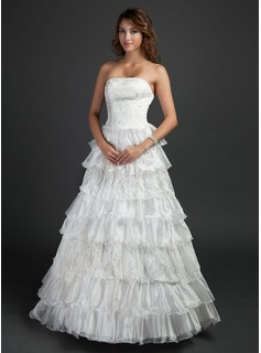Ball-Gown Strapless Floor-Length Organza Satin Wedding Dress With Lace Cascading Ruffles
