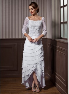 A-Line/Princess Square Neckline Asymmetrical Chiffon Wedding Dress With Lace Beading Cascading Ruffles
