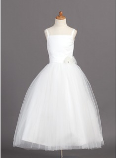 A-Line/Princess Square Neckline Ankle-Length Satin Tulle Flower Girl Dress With Flower(s)