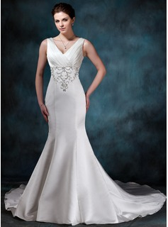 Trumpet/Mermaid V-neck Chapel Train Satin Wedding Dress With Embroidery Ruffle Beading